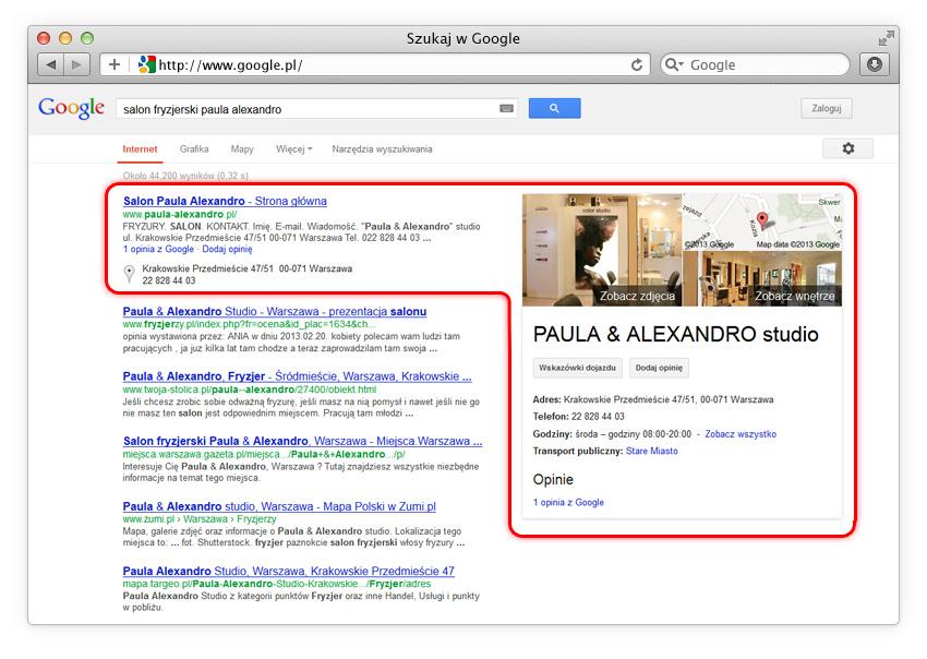 Wyniki wyszukiwania (Zdjęcia Firmowe Google)